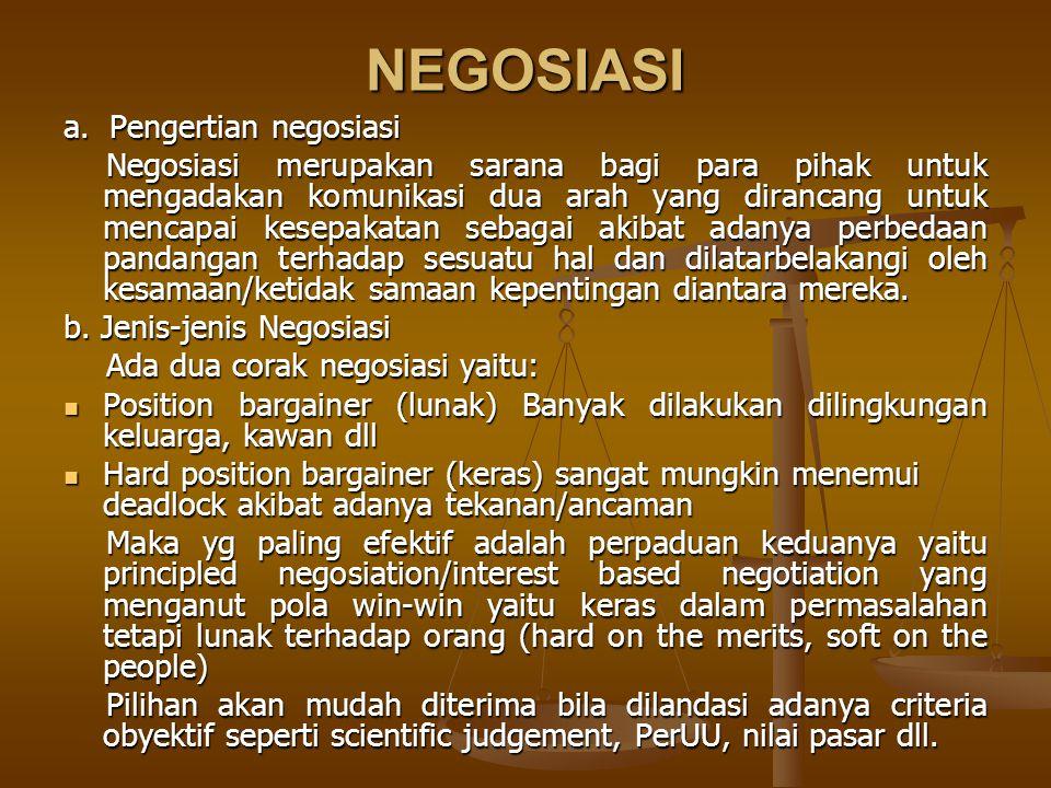 NEGOSIASI a. Pengertian negosiasi