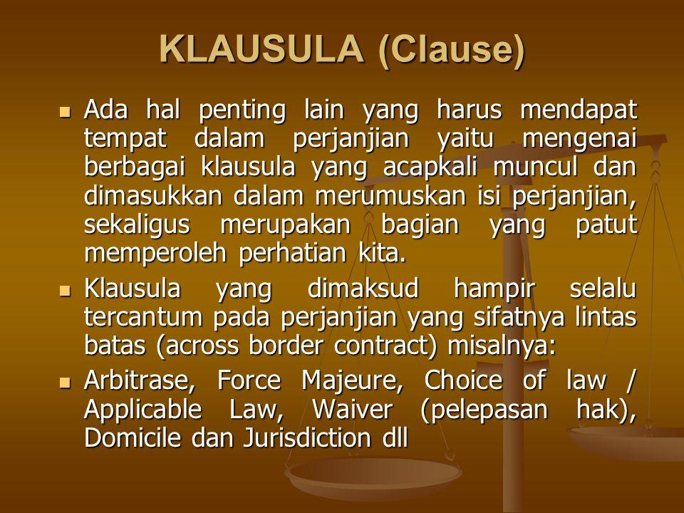 KLAUSULA (Clause)