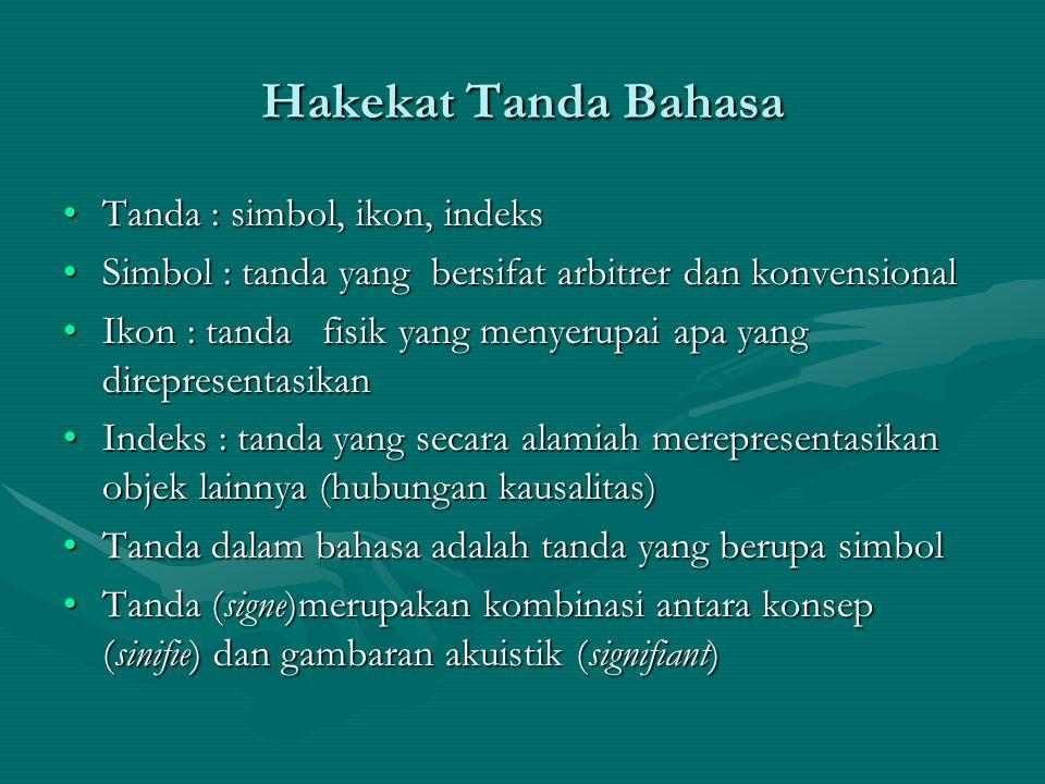 Hakekat Tanda Bahasa Tanda : simbol, ikon, indeks