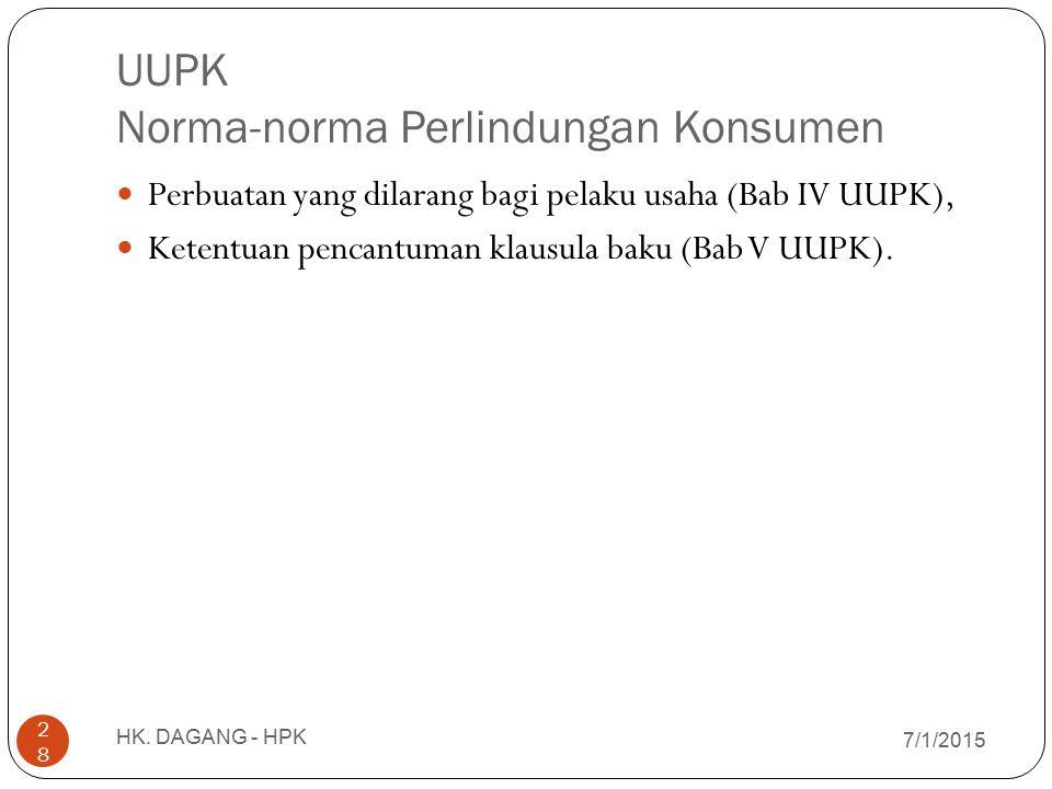 UUPK Norma-norma Perlindungan Konsumen