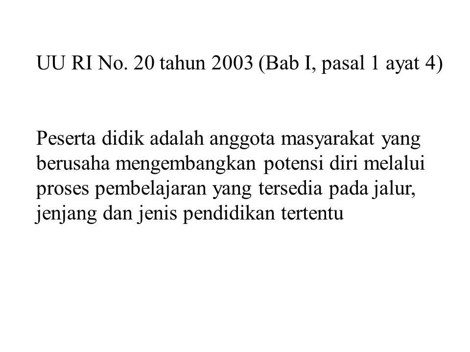 UU RI No. 20 tahun 2003 (Bab I, pasal 1 ayat 4)
