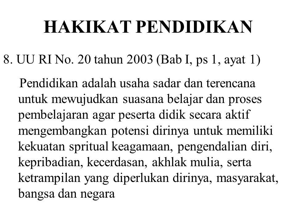 HAKIKAT PENDIDIKAN 8. UU RI No. 20 tahun 2003 (Bab I, ps 1, ayat 1)
