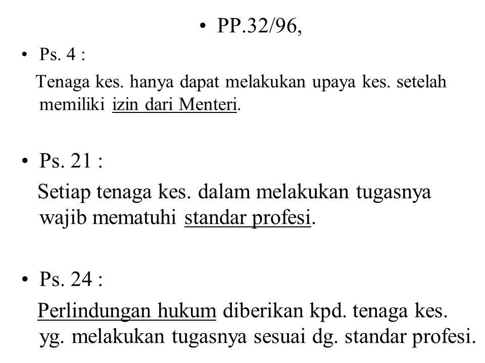 PP.32/96, Ps. 4 : Tenaga kes. hanya dapat melakukan upaya kes. setelah memiliki izin dari Menteri.