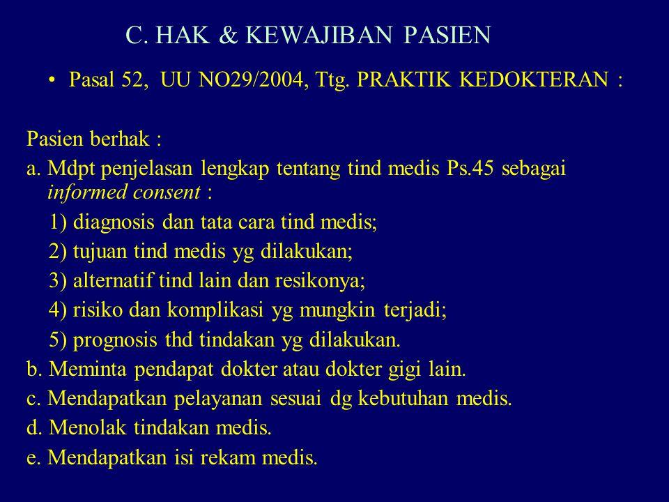 C. HAK & KEWAJIBAN PASIEN