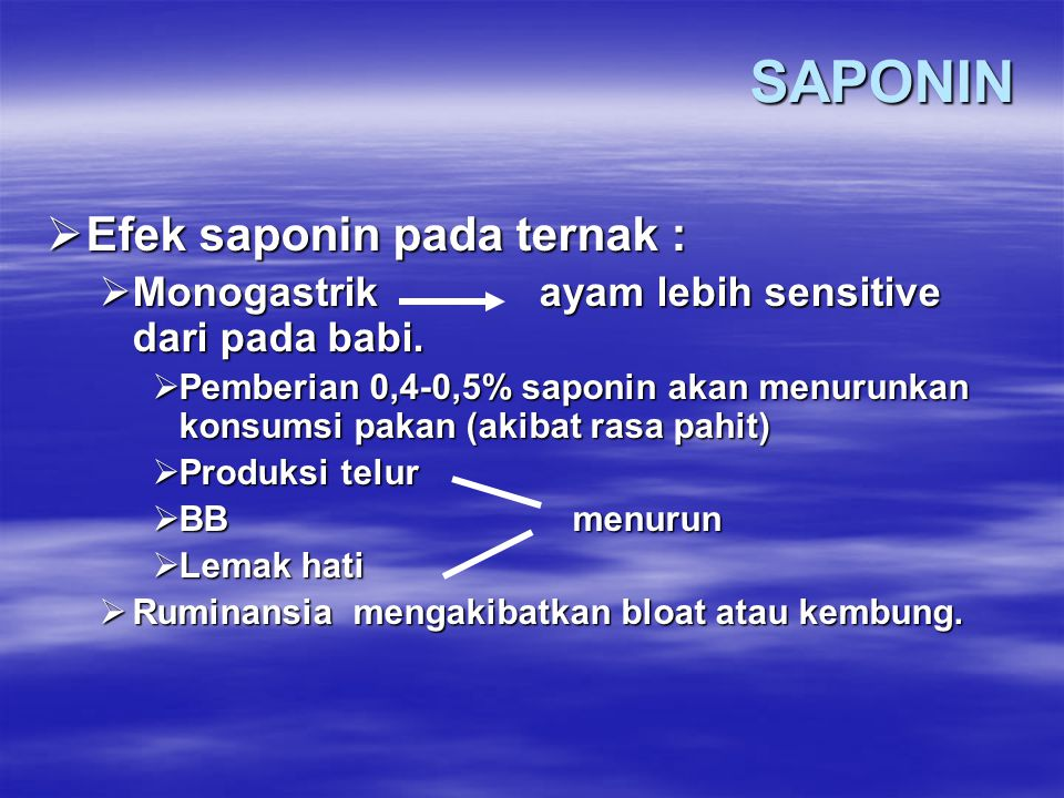 SAPONIN Efek saponin pada ternak :