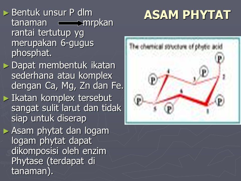 Bentuk unsur P dlm tanaman mrpkan rantai tertutup yg merupakan 6-gugus phosphat.