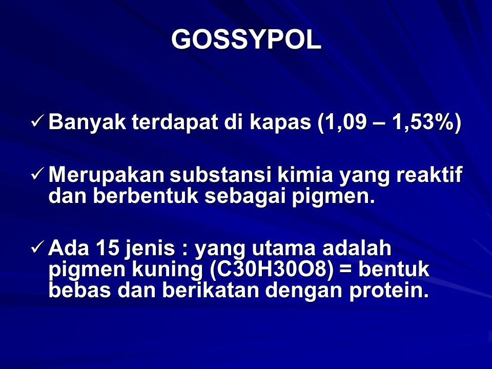 GOSSYPOL Banyak terdapat di kapas (1,09 – 1,53%)