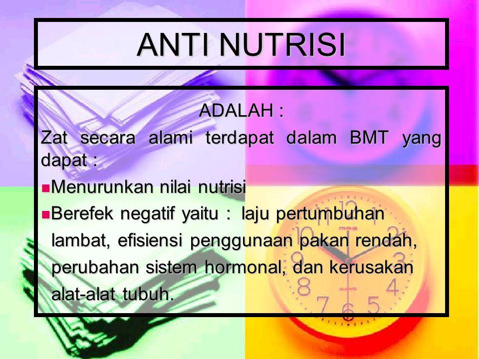 ANTI NUTRISI ADALAH : Zat secara alami terdapat dalam BMT yang dapat :
