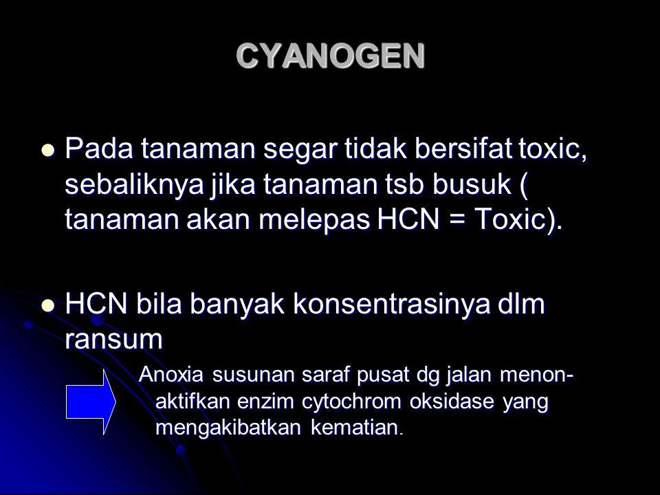 CYANOGEN Pada tanaman segar tidak bersifat toxic, sebaliknya jika tanaman tsb busuk ( tanaman akan melepas HCN = Toxic).
