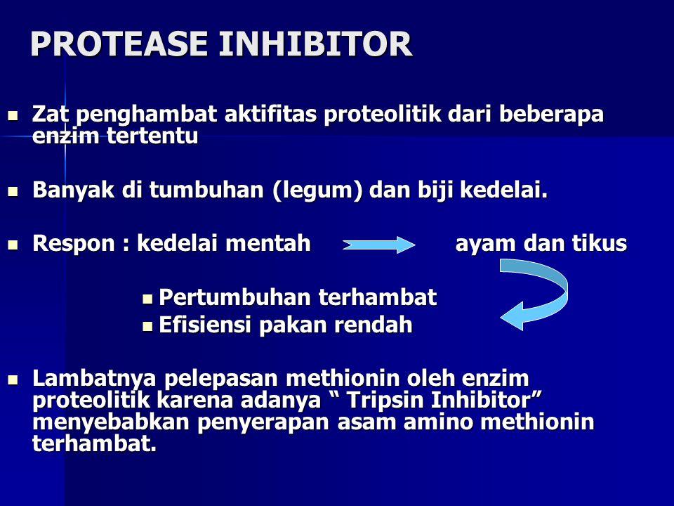 PROTEASE INHIBITOR Zat penghambat aktifitas proteolitik dari beberapa enzim tertentu. Banyak di tumbuhan (legum) dan biji kedelai.