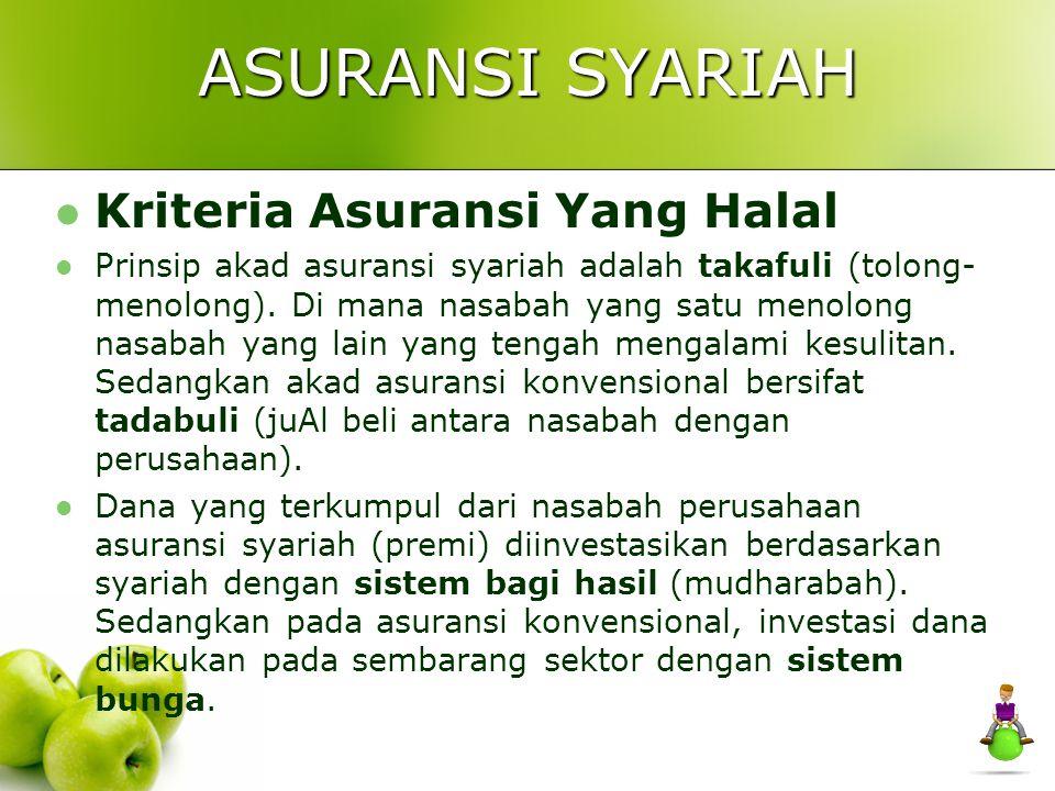 ASURANSI SYARIAH Kriteria Asuransi Yang Halal