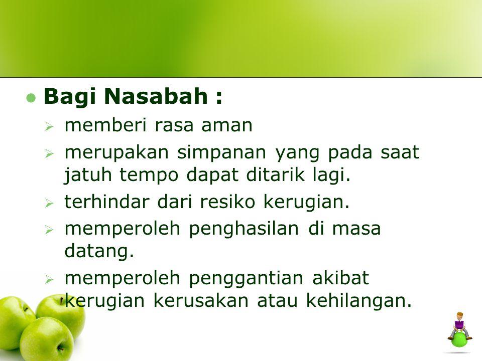 Bagi Nasabah : memberi rasa aman