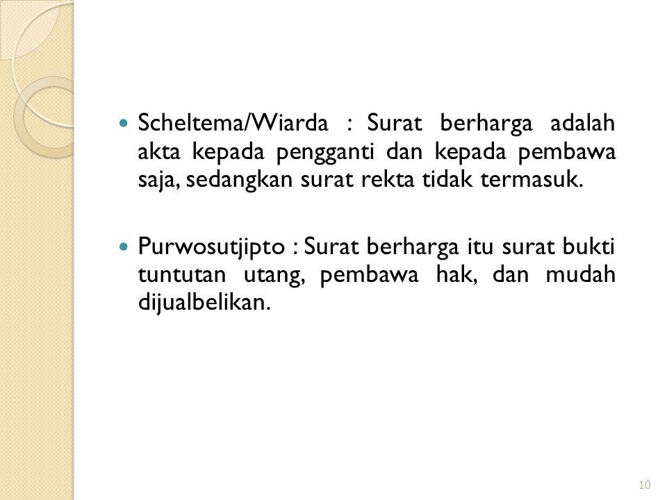 Scheltema/Wiarda : Surat berharga adalah akta kepada pengganti dan kepada pembawa saja, sedangkan surat rekta tidak termasuk.