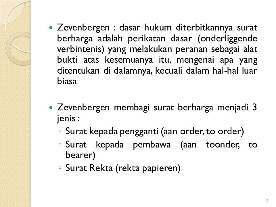 Zevenbergen : dasar hukum diterbitkannya surat berharga adalah perikatan dasar (onderliggende verbintenis) yang melakukan peranan sebagai alat bukti atas kesemuanya itu, mengenai apa yang ditentukan di dalamnya, kecuali dalam hal-hal luar biasa