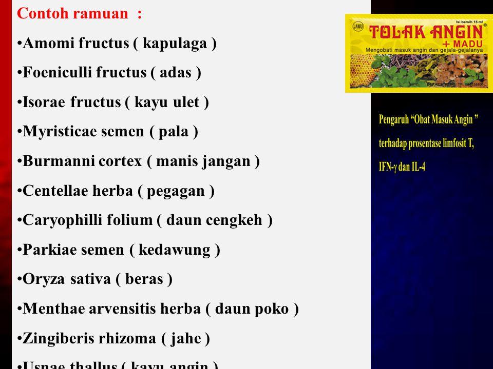 Contoh ramuan : Amomi fructus ( kapulaga ) Foeniculli fructus ( adas ) Isorae fructus ( kayu ulet )