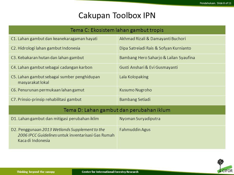 Cakupan Toolbox IPN Tema C: Ekosistem lahan gambut tropis