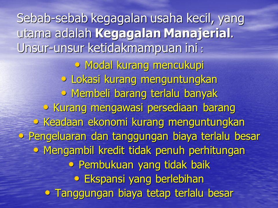 Sebab-sebab kegagalan usaha kecil, yang utama adalah Kegagalan Manajerial. Unsur-unsur ketidakmampuan ini :