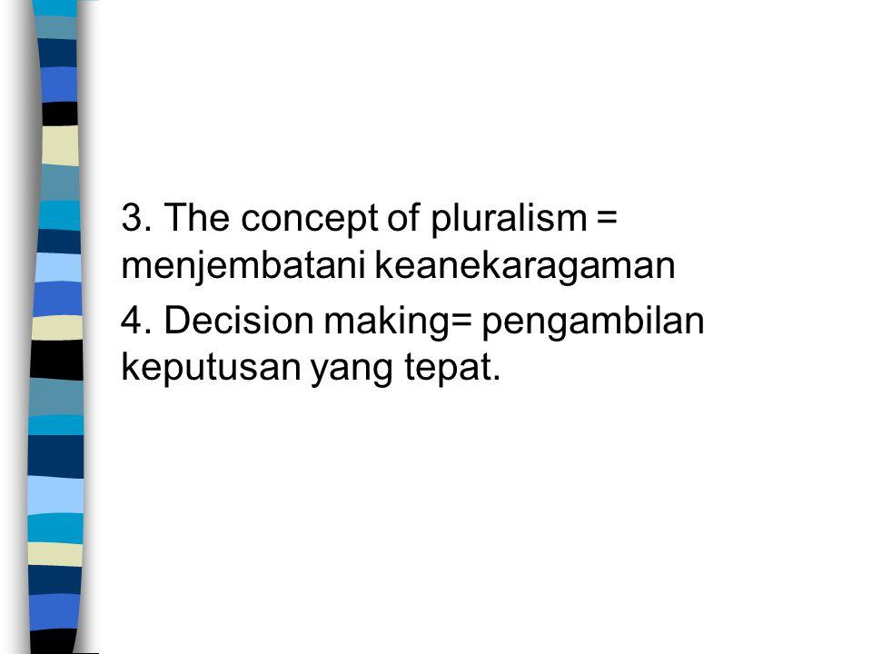 3. The concept of pluralism = menjembatani keanekaragaman 4
