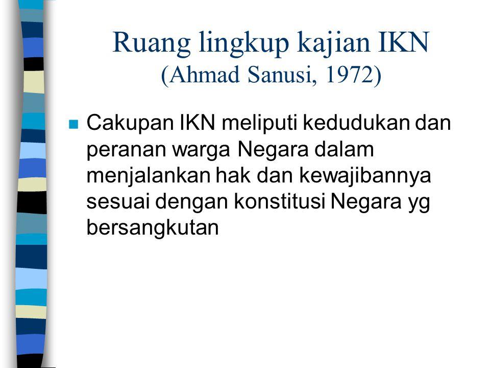 Ruang lingkup kajian IKN (Ahmad Sanusi, 1972)