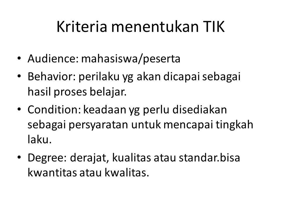 Kriteria menentukan TIK