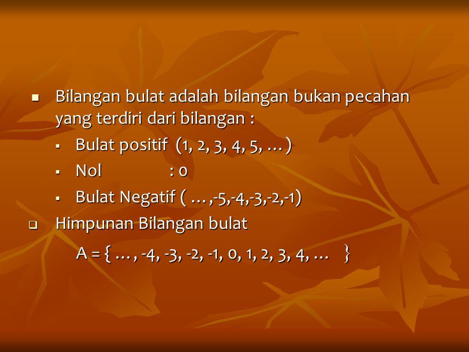 Bilangan bulat adalah bilangan bukan pecahan yang terdiri dari bilangan :