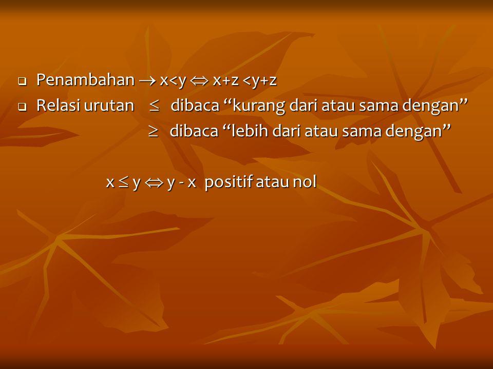 Penambahan  x<y  x+z <y+z