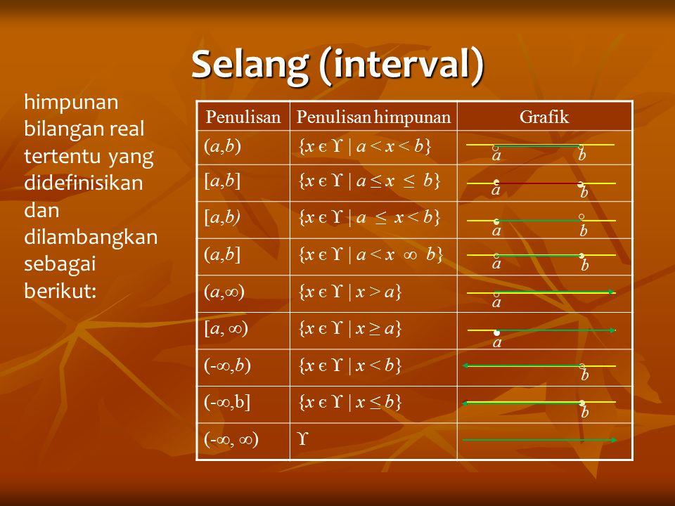 Selang (interval) himpunan bilangan real tertentu yang didefinisikan dan dilambangkan sebagai berikut: