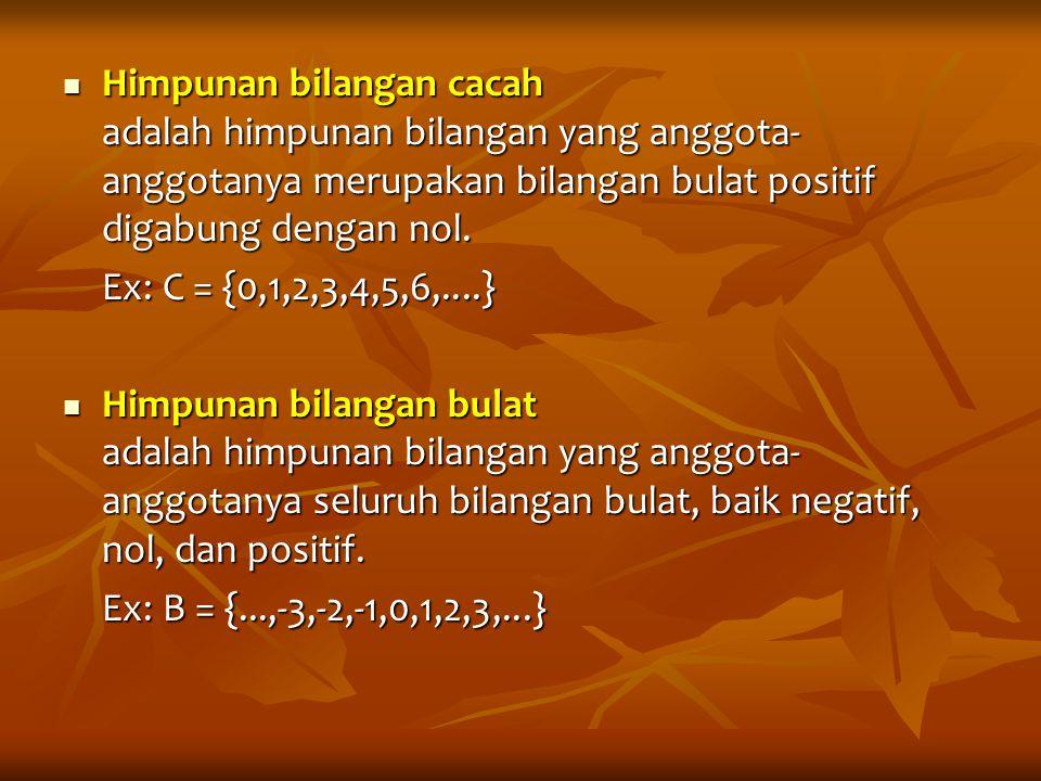 Himpunan bilangan cacah adalah himpunan bilangan yang anggota-anggotanya merupakan bilangan bulat positif digabung dengan nol.