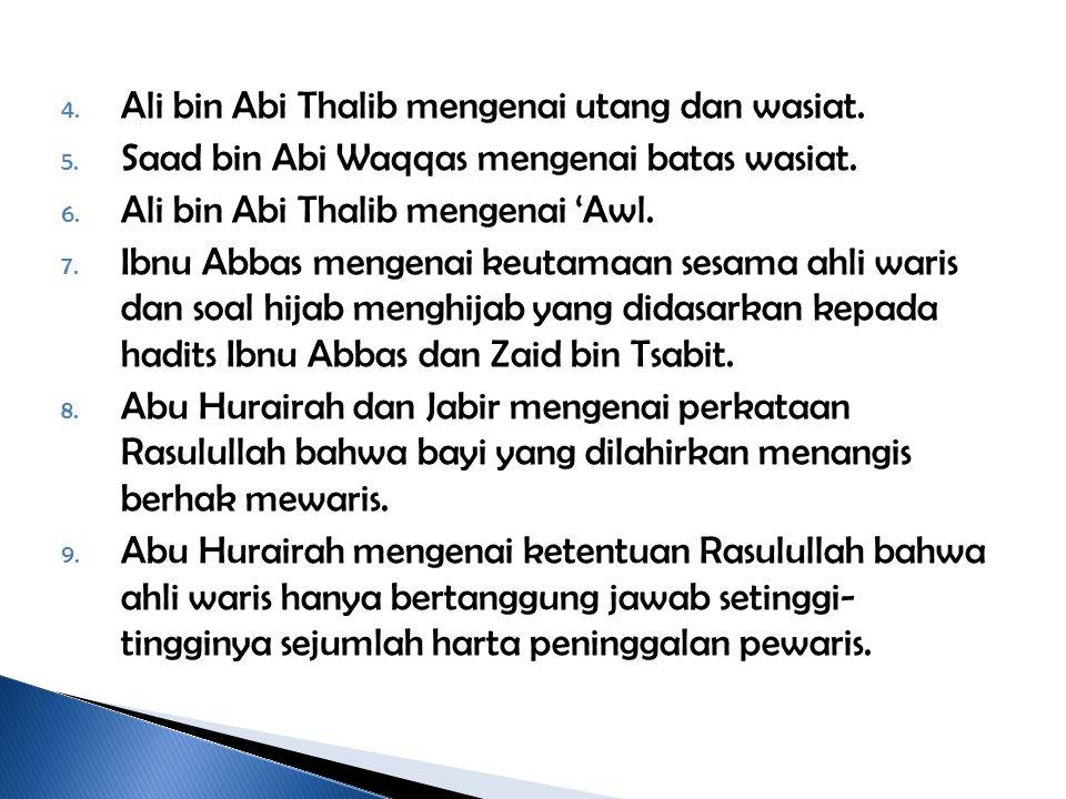 Ali bin Abi Thalib mengenai utang dan wasiat.