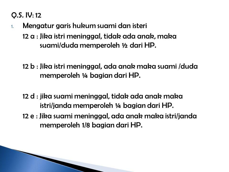Q.S. IV: 12 Mengatur garis hukum suami dan isteri. 12 a : Jika istri meninggal, tidak ada anak, maka suami/duda memperoleh ½ dari HP.