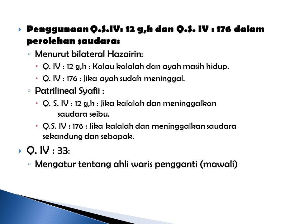 Penggunaan Q.S.IV: 12 g,h dan Q.S. IV : 176 dalam perolehan saudara:
