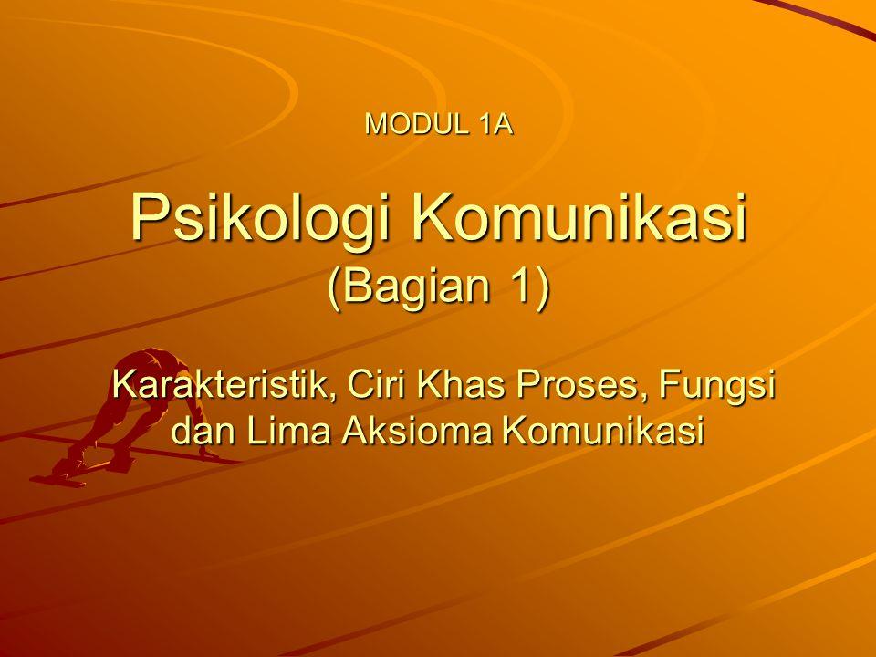 MODUL 1A Psikologi Komunikasi (Bagian 1) Karakteristik, Ciri Khas Proses, Fungsi dan Lima Aksioma Komunikasi