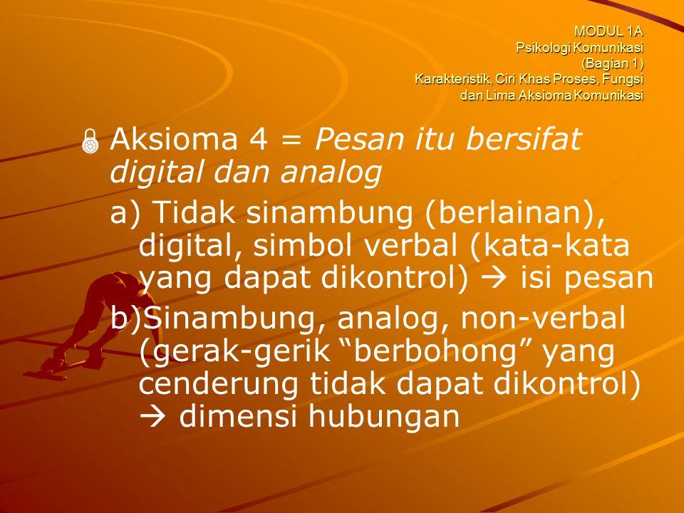 Aksioma 4 = Pesan itu bersifat digital dan analog