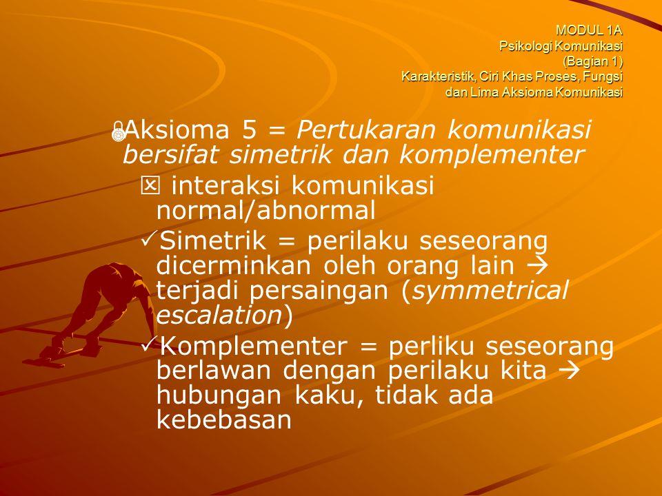 Aksioma 5 = Pertukaran komunikasi bersifat simetrik dan komplementer