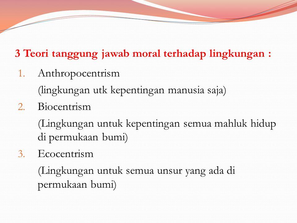 3 Teori tanggung jawab moral terhadap lingkungan :