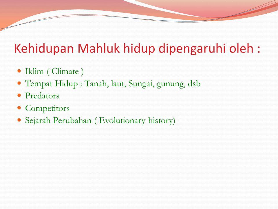 Kehidupan Mahluk hidup dipengaruhi oleh :
