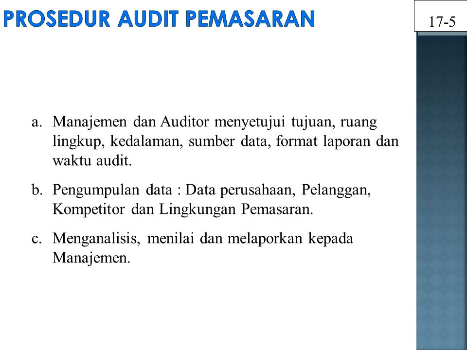 Prosedur Audit Pemasaran