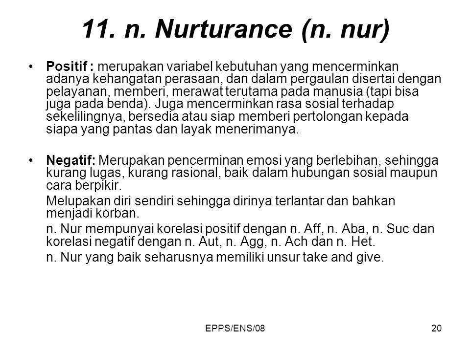 11. n. Nurturance (n. nur)