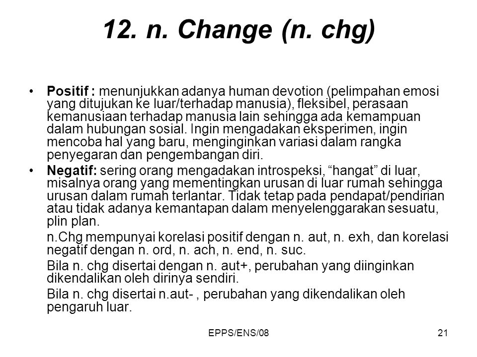 12. n. Change (n. chg)