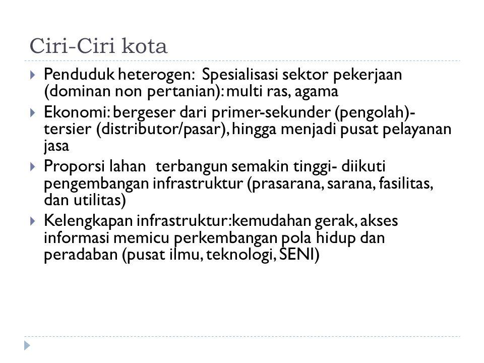 Ciri-Ciri kota Penduduk heterogen: Spesialisasi sektor pekerjaan (dominan non pertanian): multi ras, agama.