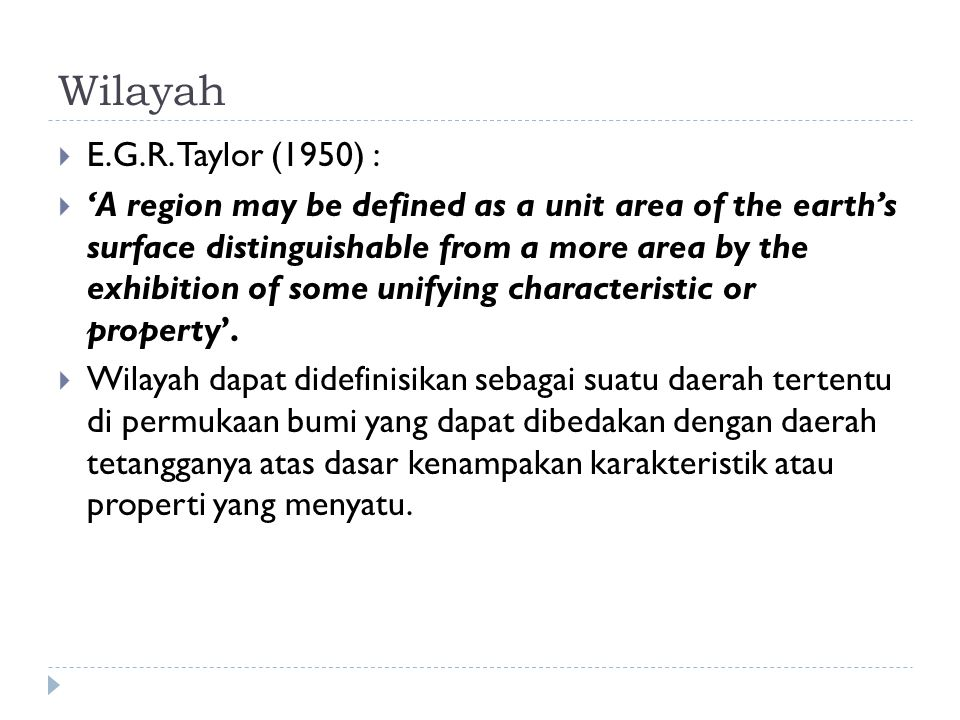 Wilayah E.G.R. Taylor (1950) :
