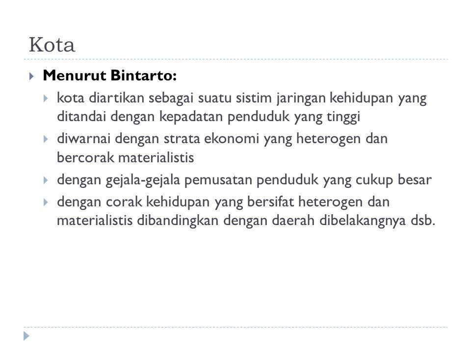 Kota Menurut Bintarto: