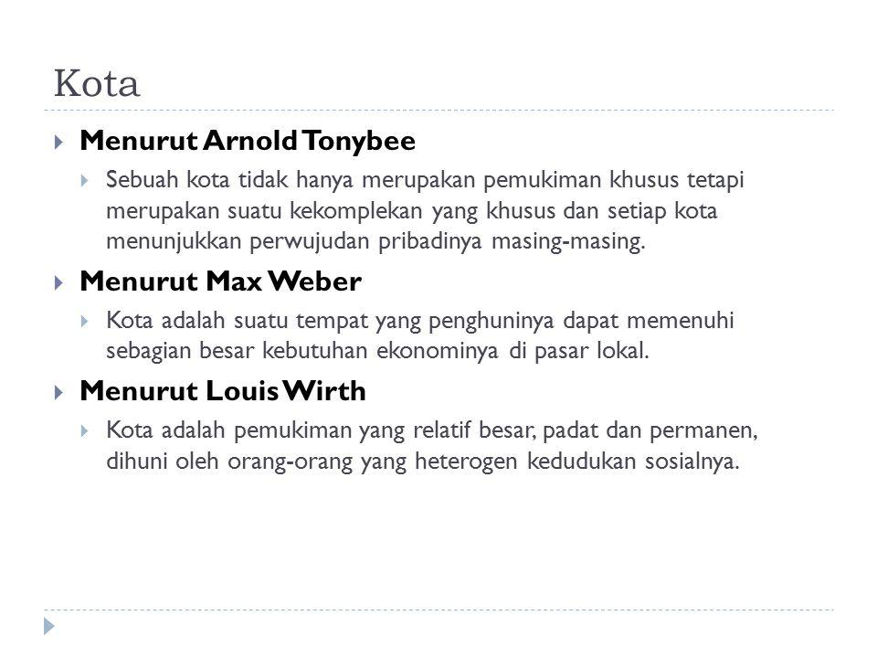 Kota Menurut Arnold Tonybee Menurut Max Weber Menurut Louis Wirth