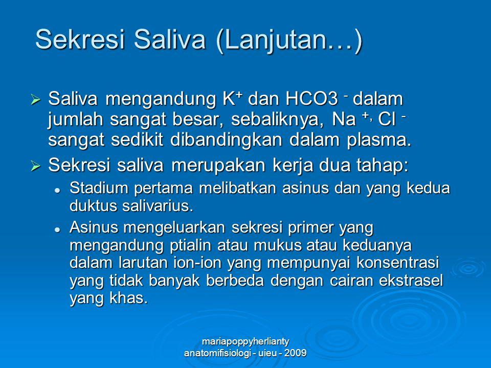 Sekresi Saliva (Lanjutan…)