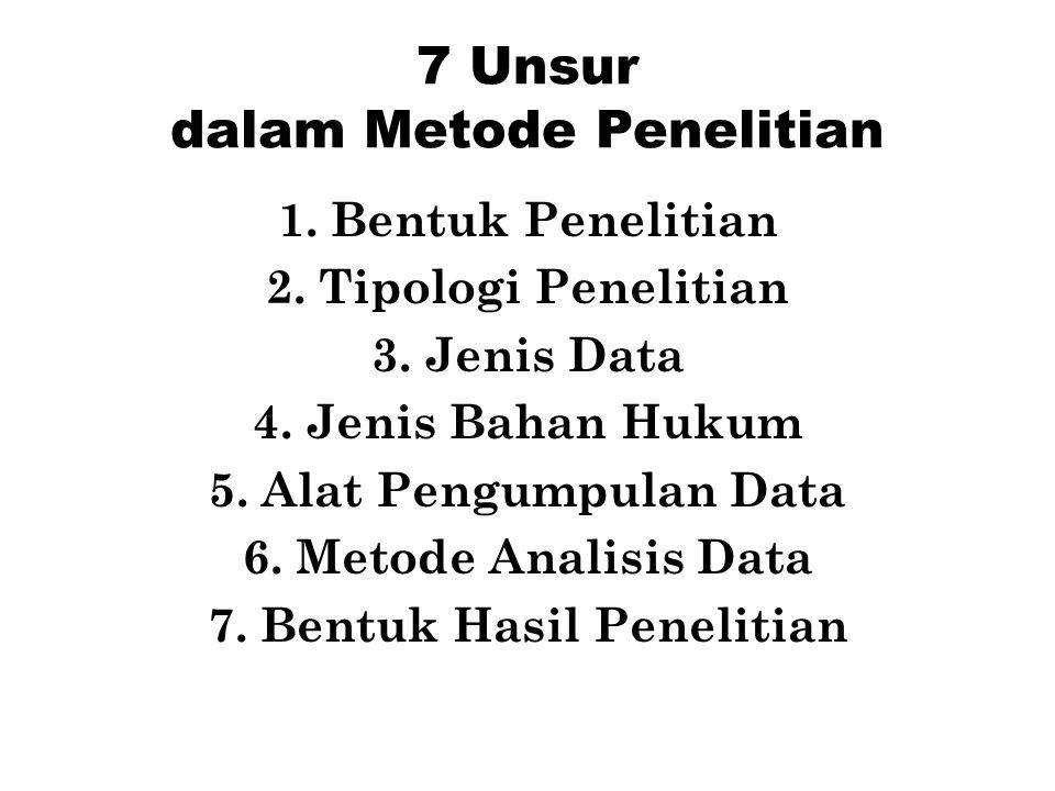 7 Unsur dalam Metode Penelitian