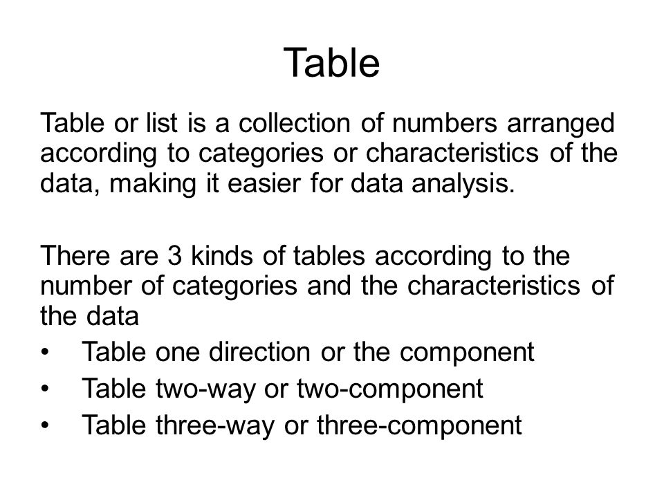 Table Table or list is a collection of numbers arranged according to categories or characteristics of the data, making it easier for data analysis.