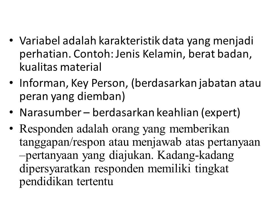 Variabel adalah karakteristik data yang menjadi perhatian