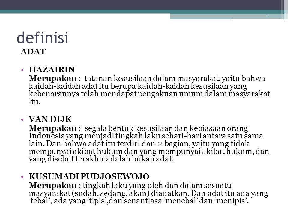 definisi ADAT HAZAIRIN
