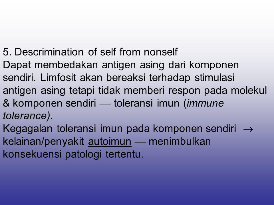 5. Descrimination of self from nonself Dapat membedakan antigen asing dari komponen sendiri.