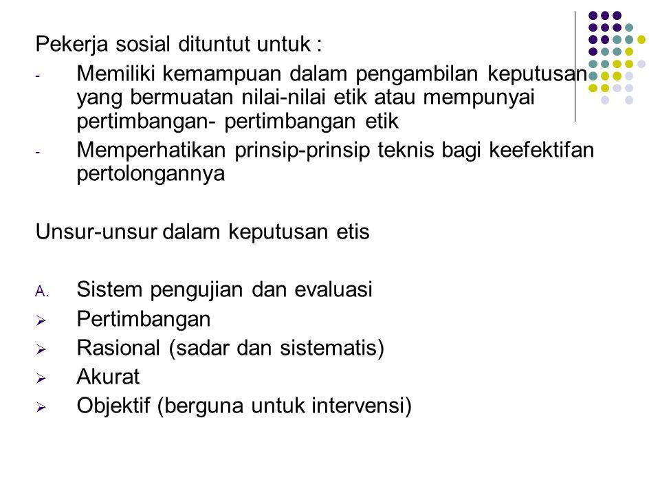 Pekerja sosial dituntut untuk :